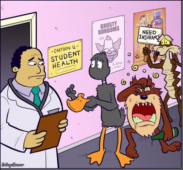 Personagens de desenhos animados na faculdade (1)