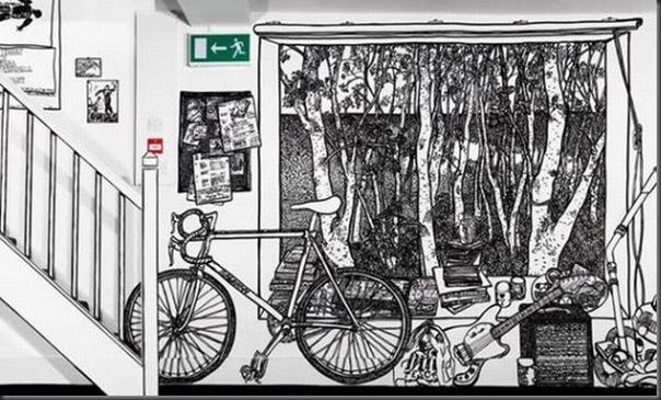 Arte em preto e branco com marcador em parede (10)
