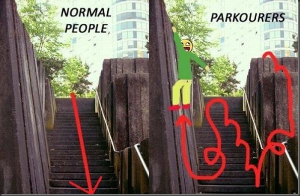 Pessoa normal vs Praticante de Parkour