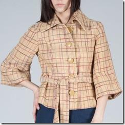 plaid tweed belted jacket