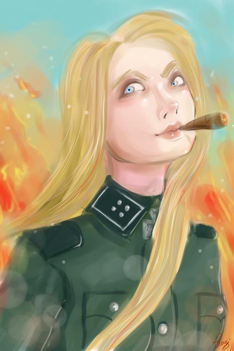 Mujer militar en el fuego