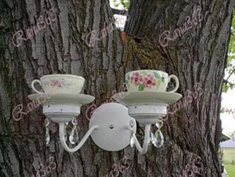 Teacup and Saucer Light Sconce Birdfeeder