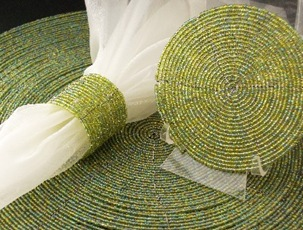 Light-Green-Beaded-Placemats-Chargers-Napkin-Rings-Coasters-300