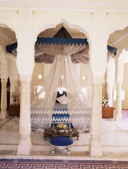 17-4145~Traditional-Rajput-Columns-and-Cuspid-Arches-in-Tented-Guest-Bedroom-Samode-India-Posters