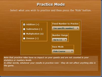 mathrider practice menu