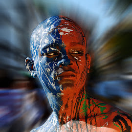 Carnaval by Jose German - People Body Art/Tattoos ( face, orange, color, blue, carnaval, orange. color, people,  )
