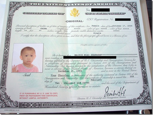 Moments with Maisie: Certificate of Citizenship