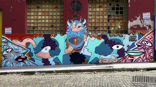 Abstract Graffiti in the Barracas Neighborhood of Buenos Aires, Argentina