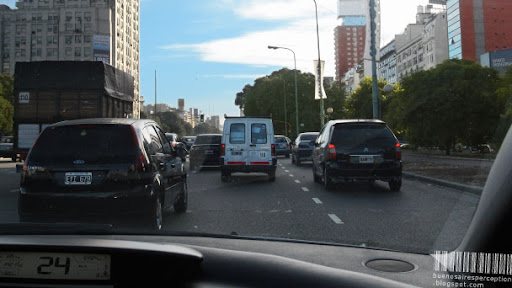 Everyday Traffic Jam on Avenida Nueve Julio in Buenos Aires, Argentina