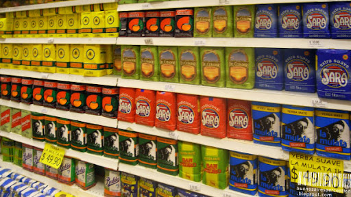 Shelf Full of All Different Kinds of Yerba Mate Tea in a Grocery Store in Montevideo, Uruguay