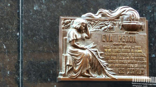 Principal Remembrance Plate on the Mausoleum of Evita Peron in the Recoleta Cemetery in Buenos Aires, Argentina