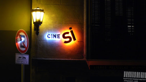 Backlit Shop Sign of the Cine Si Bookstore in San Telmo Buenos Aires, Argentina