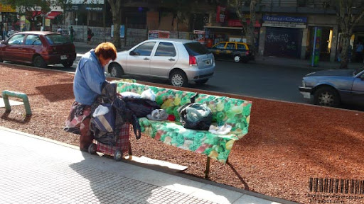 Homeless Woman at the Plaza de los Dos Congresos in Buenos Aires, Argentina