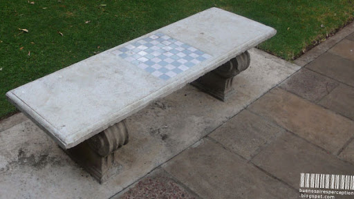 Chessboard integrated in a Stone Bench in a Park in Buenos Aires, Argentina