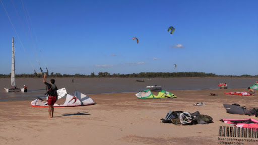 Kite Boarding, Surface Water Sport on the River Paraná in Rosario, Argentina