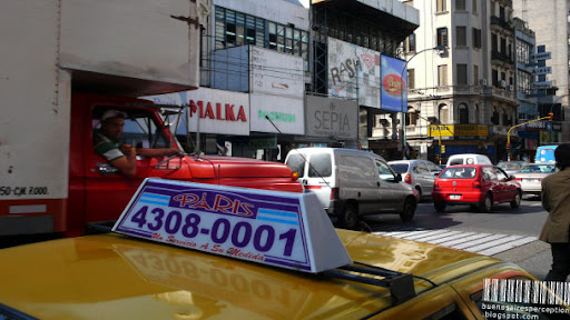 Stuck in Traffic, Street Scene in Buenos Aires, Argentina