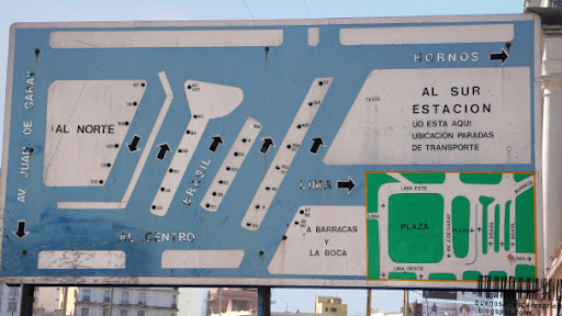 Public Bus Overview Sign at Estación Constitición in Buenos Aires, Argentina