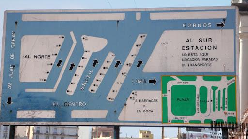 Public Bus Overview Sign at Estación Constitición in Buenos Aires, Argentina