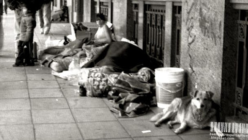 Poor and Homeless Woman in Buenos Aires, Argentina