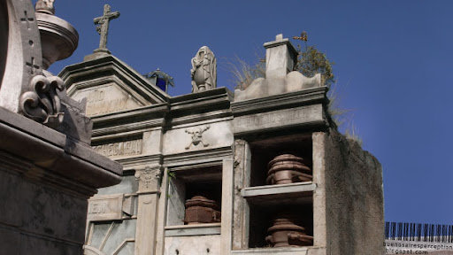 Open Mausoleum with visible Coffins in the Recoleta Cemetery in Buenos Aires, Argentina