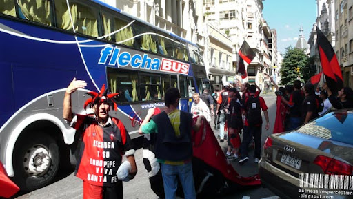 Soccer Fans of Colón de Santa Fe in Buenos Aires, Argentina