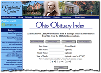 Ohio Obit Index search options on the Hayes Center website