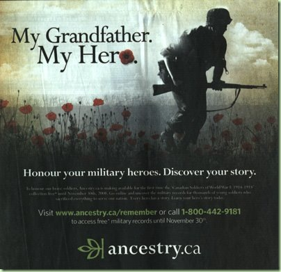Ancestry.ca Remembrance Day newspaper advertisement