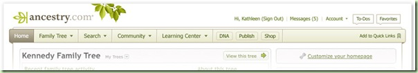 New Ancestry.com navigation bar