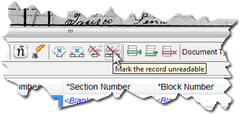 Icons to Mark a field or record unreadable previously had a red slash