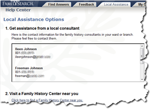 FamilySearch Help Center has a new tab, 'Local Assistance'