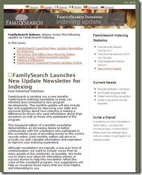FamilySearch launched a newsletter for indexers