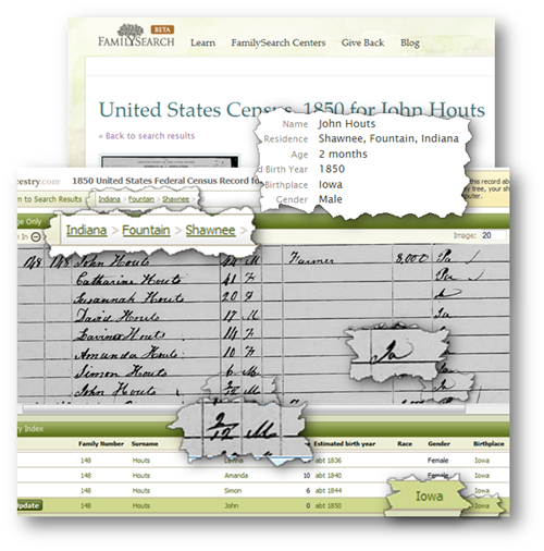 In 2011 both Ancestry.com and FamilySearch.org had indexed John Houts wrong