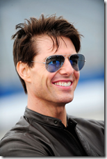 Tom Cruise gave sunglasses, nose, chin, jacket, and rooster tails