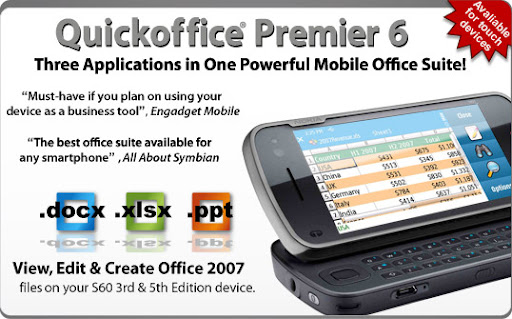 quickoffice Free Download Application, Quick Office Premier v6.2.153 Full Version for s60v3 and s60v5