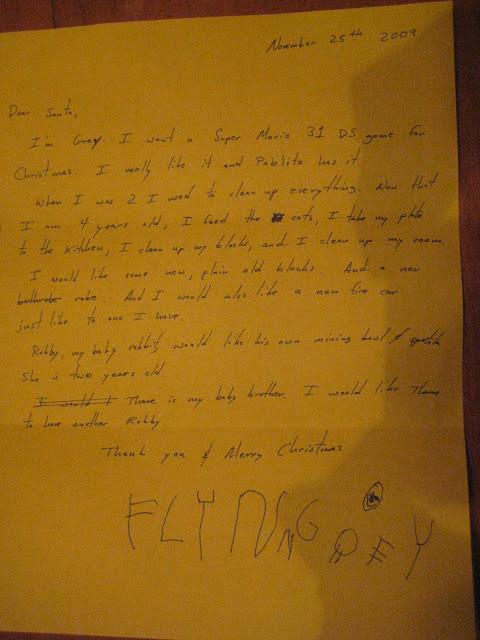 Grey's letter to Santa
