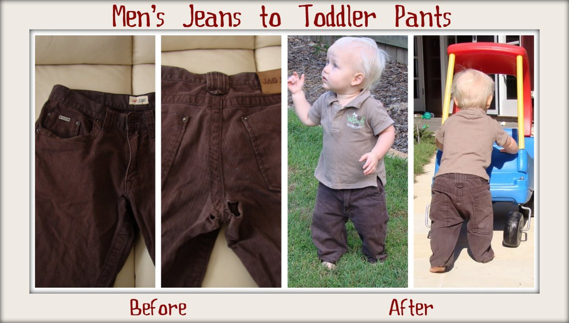 Mens Jeans To Toddler Pants Tutorial Cook Clean Craft