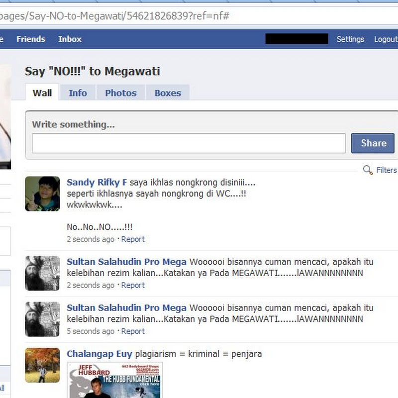 Say NO to Megawati page on Facebook - Not a black campaign, it's our aspiration