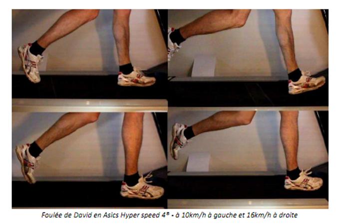 Foulée de David en Asics Hyper speed 4® - à 10km/h à gauche et 16km/h à droite