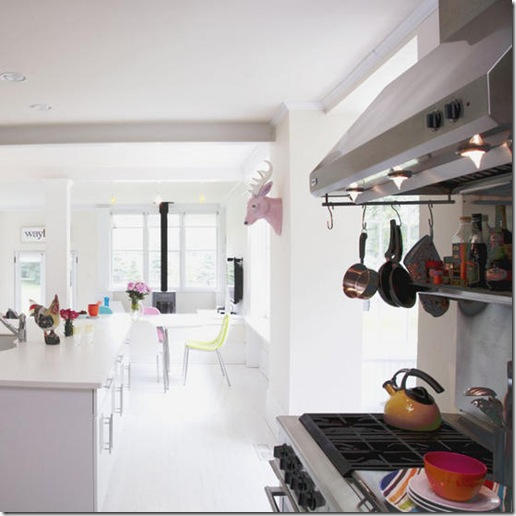 White bright airy open kitchen dining area range cooker fitted island painted flooring real home L etc 09/2007 pub orig