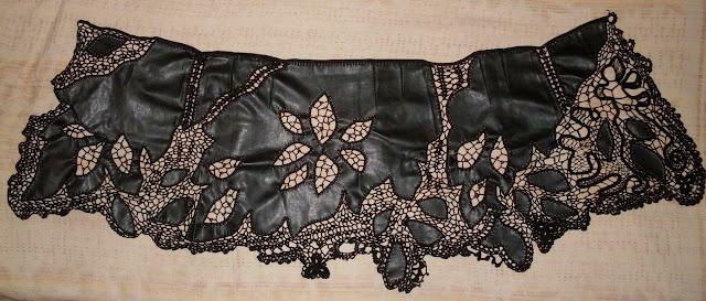 Комбинированная вязаная юбка кожа+нитки