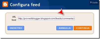 configura feed commenti