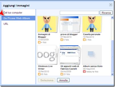 inserire immagini  picasa web