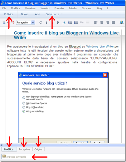 pubblicare windows live writer