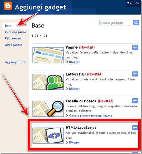 aggiungere gadget widget HTML javascript