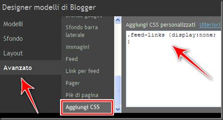 come eliminare link iscriviti post atom blogger
