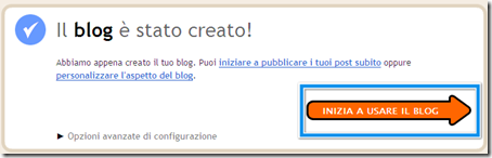 procedura completata realizzare blog
