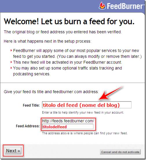 generare URL nuovo feed feedburner