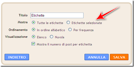 modo per mettere etichette argomenti blog blogger