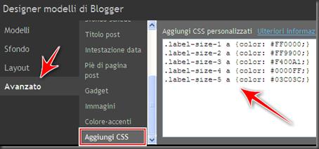 come cambiare colori etichette tag cloud blog blogger