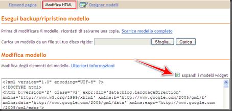 come attivare espandi modelli widget blog blogger